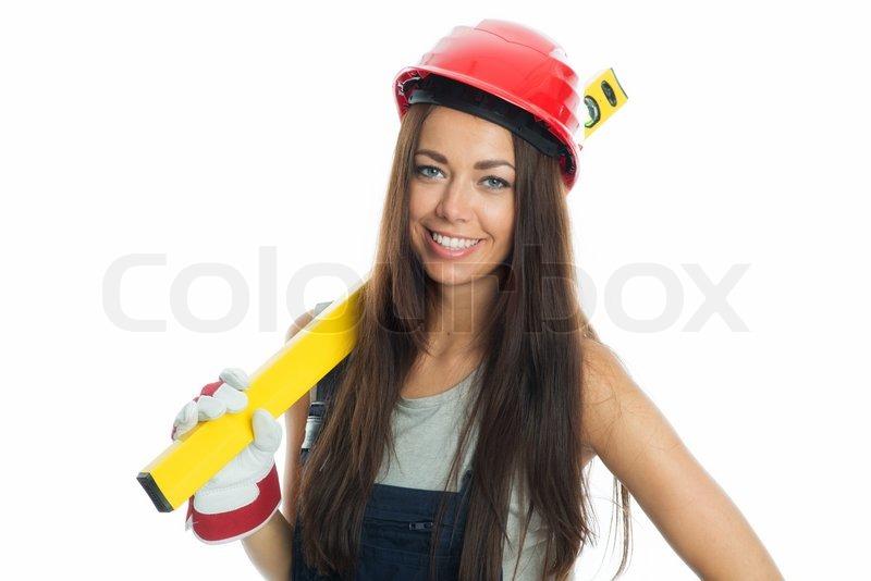 Junge Bauarbeiterin Mit Handschuhen Und Helm Halt Eine Wasserwage In