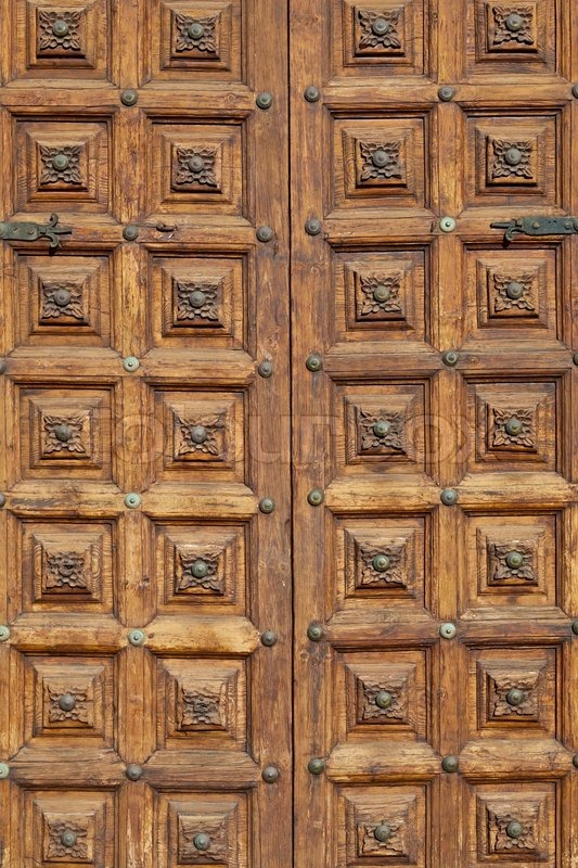 Antique Wooden Closed Door Background, stock photo - Antique Wooden Closed Door Background Stock Photo Colourbox