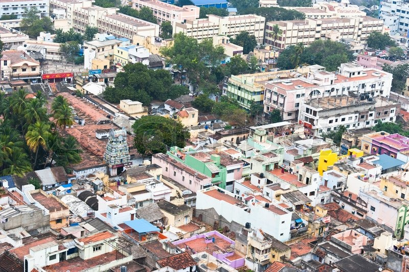 ... city with bright colored houses. South India, Tamil Nadu, stock photo