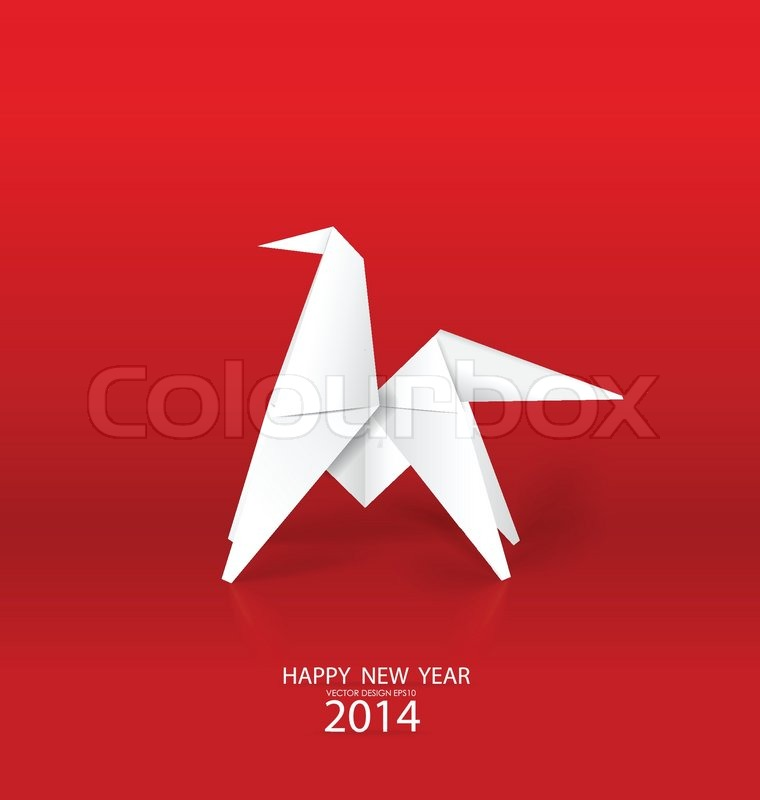 2014 Happy New Year Greeting Card Origami Paper Horse Design Vector Illustration