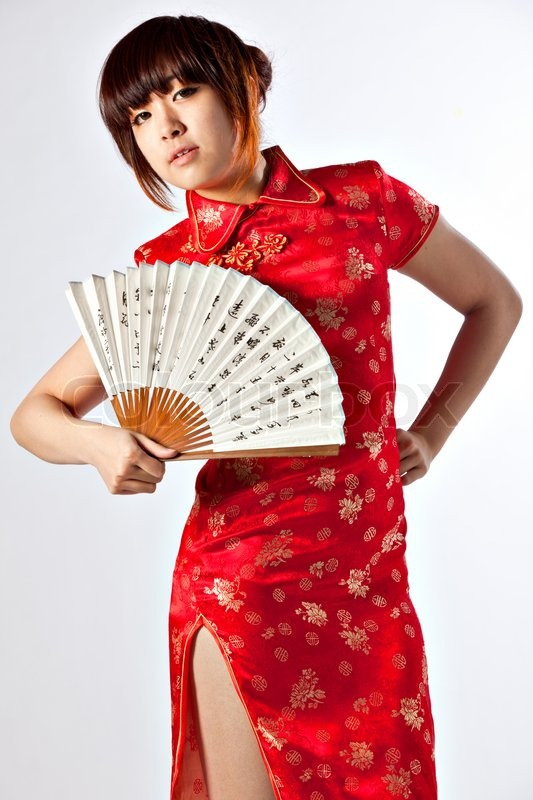 7b4d2f582 Chinese model in traditional Cheongsam ... | Stock image | Colourbox
