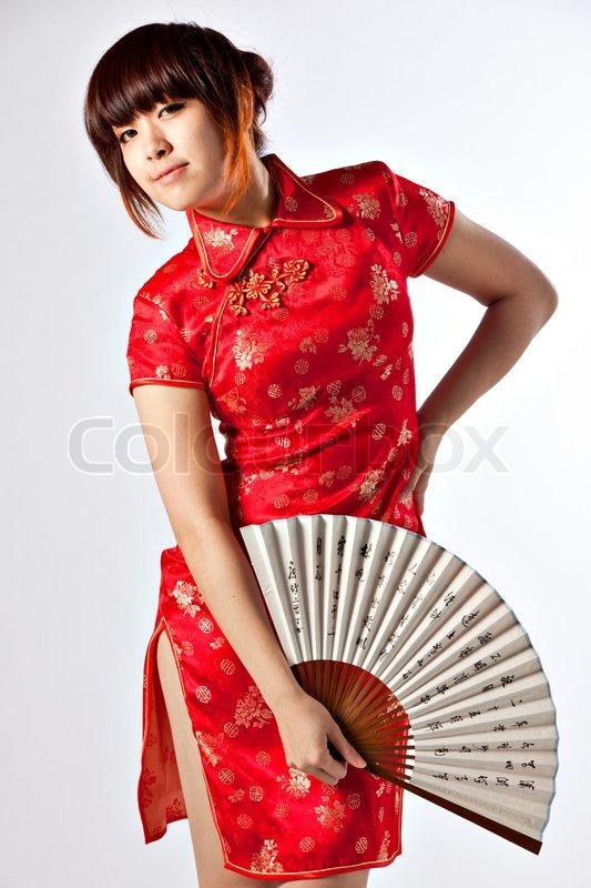 chinese model in traditional cheongsam   stock photo