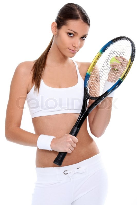 Girl Tennis Player Standing On White Background Stock