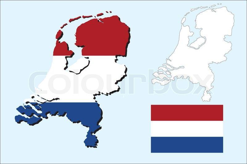 Niederlande Karte Umriss.Niederlande Karte Mit Der Flagge Stock Vektor Colourbox