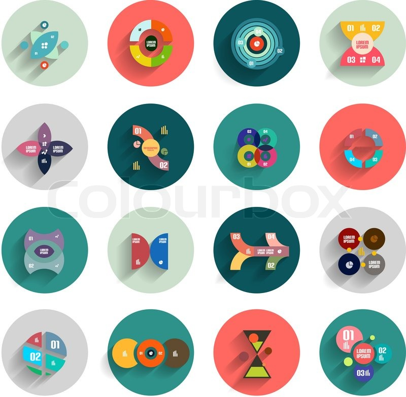 Infographic Inside Colorful Circles Flat Icon Set Stock