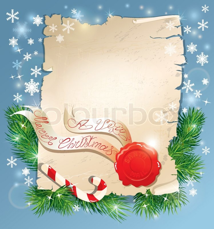Christmas greeting magic scroll with wax seal of santa claus on blue christmas greeting magic scroll with wax seal of santa claus on blue snowflakes holiday background stock vector colourbox m4hsunfo