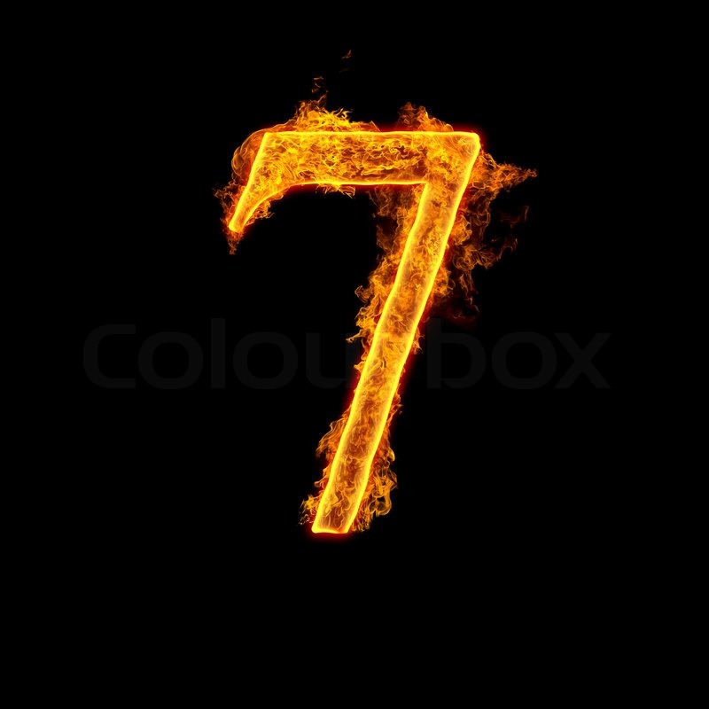 Fire Alphabet Number 7 Seven Isolated On Black Background Stock Photo Colourbox