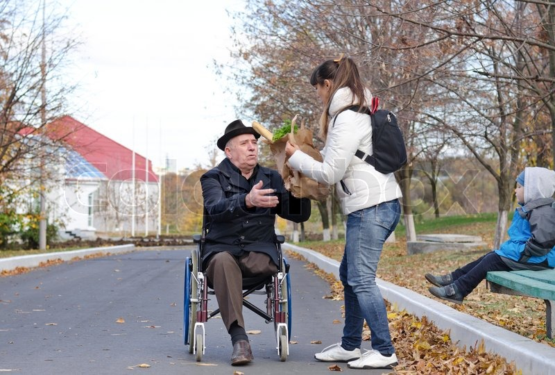 Helping Elderly Cross The Street