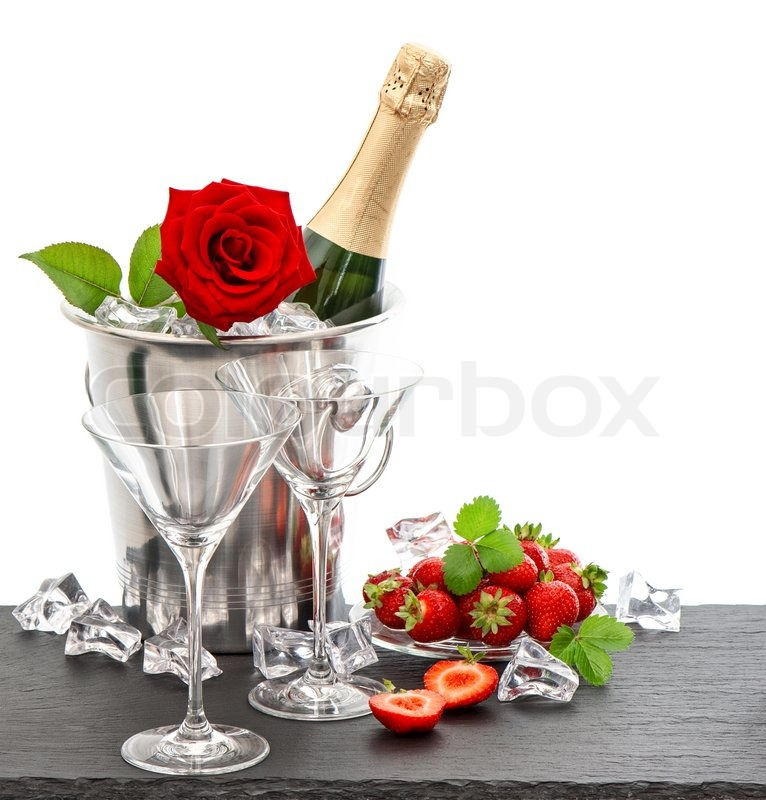 Festive Arrangement With Champagne Red Rose And