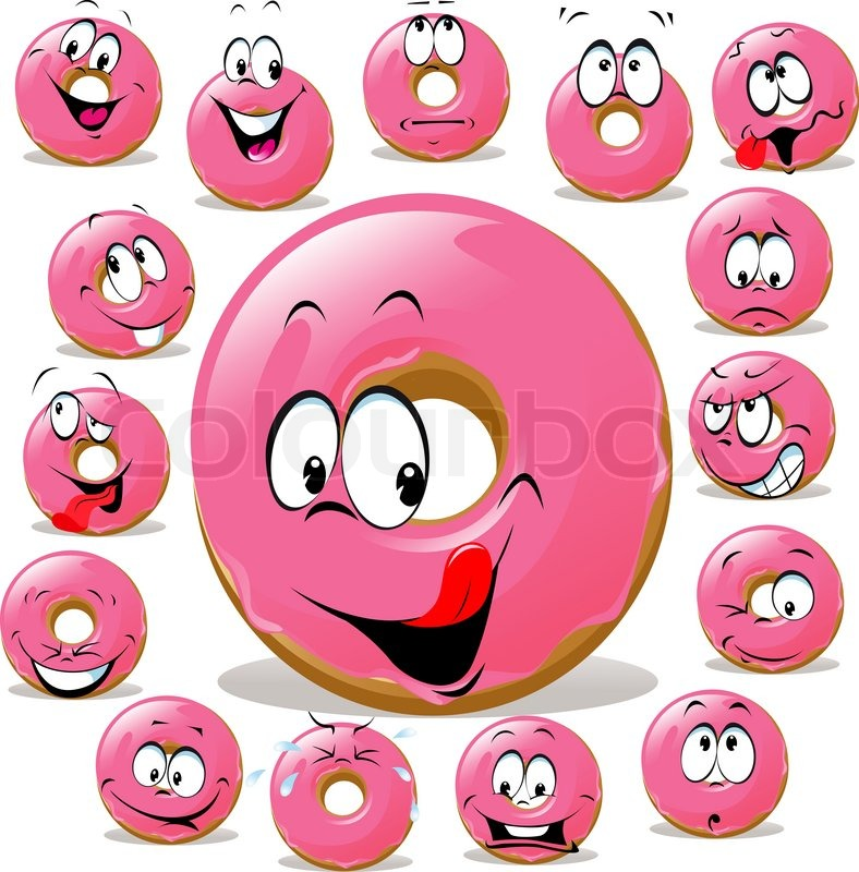 Cartoon Doughnut Factory: Donut Cartoon With Many Facial ...
