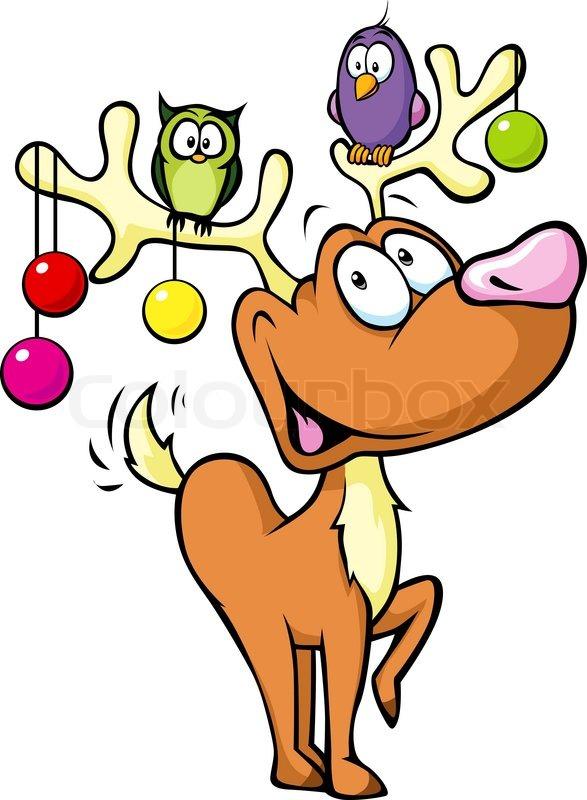 Lustige Weihnachtskugeln.Lustiges Rentier Mit Weihnachtskugeln Stock Vektor Colourbox