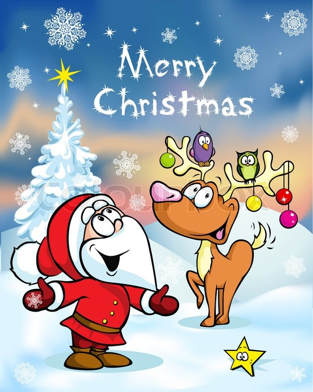 Merry Christmas greeting card, funny santa claus and reindeer ...