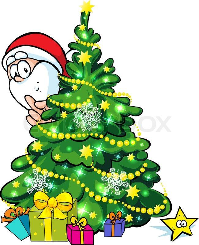 santa claus hidden behind a shining christmas tree stock. Black Bedroom Furniture Sets. Home Design Ideas