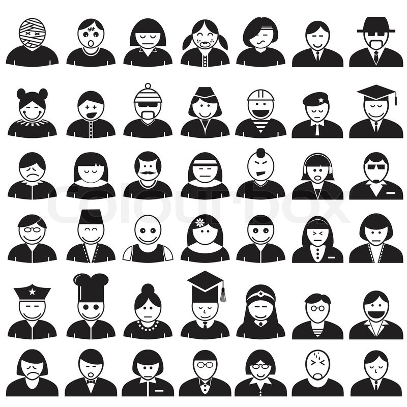 People Face Avatar Icons Set Vector Format Stock Vector