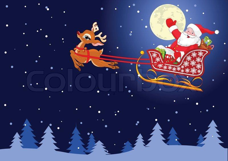 santa claus flying his sleigh through the night sky stock vector