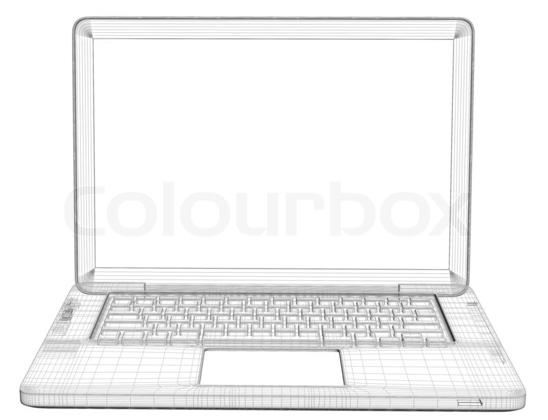 Laptop. Wire frame. Isolated render on a white background | Stock ...