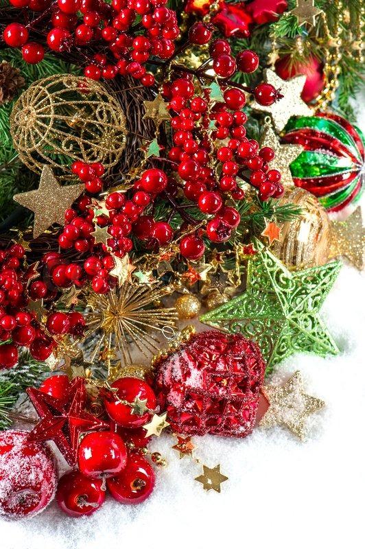 Baubles Golden Garlands Christmas Stock Photo