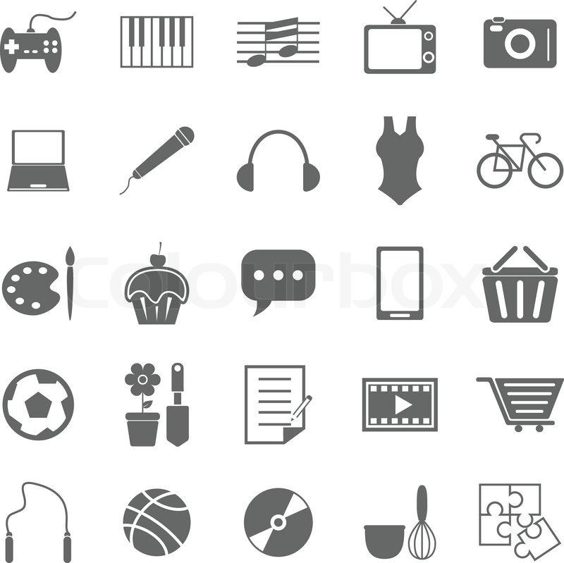 hobby symbole auf wei em hintergrund vektorgrafik colourbox. Black Bedroom Furniture Sets. Home Design Ideas