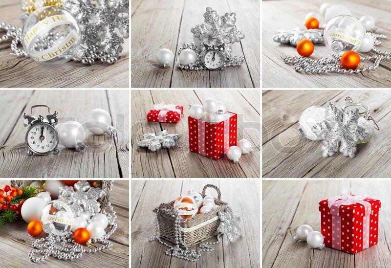 Collage von fotos ber weihnachten grauen hintergrund holz for Foto hintergrund weihnachten