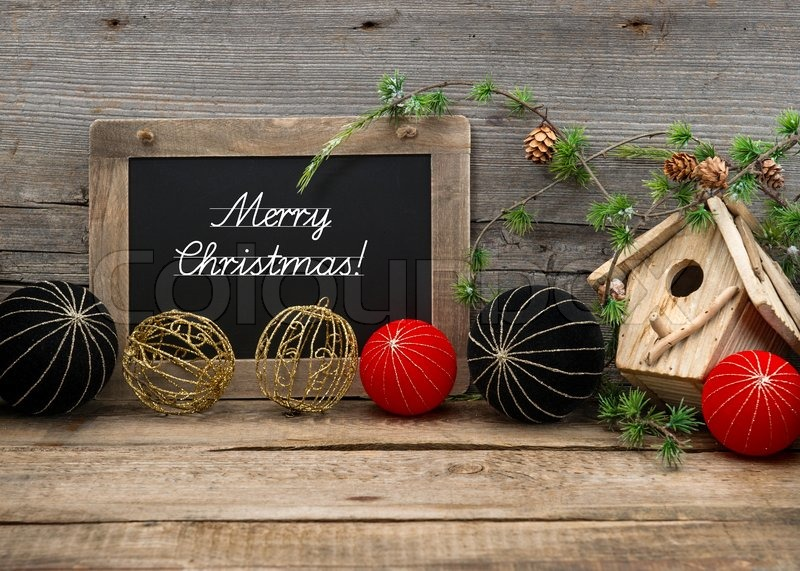Stock Image Of Vintage Christmas Decoration With Blackboard And Balls
