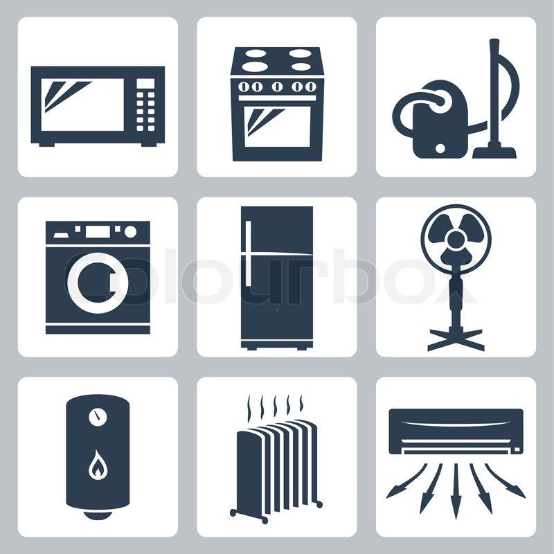 Vector Major Appliances Icons Set Stock Vector Colourbox