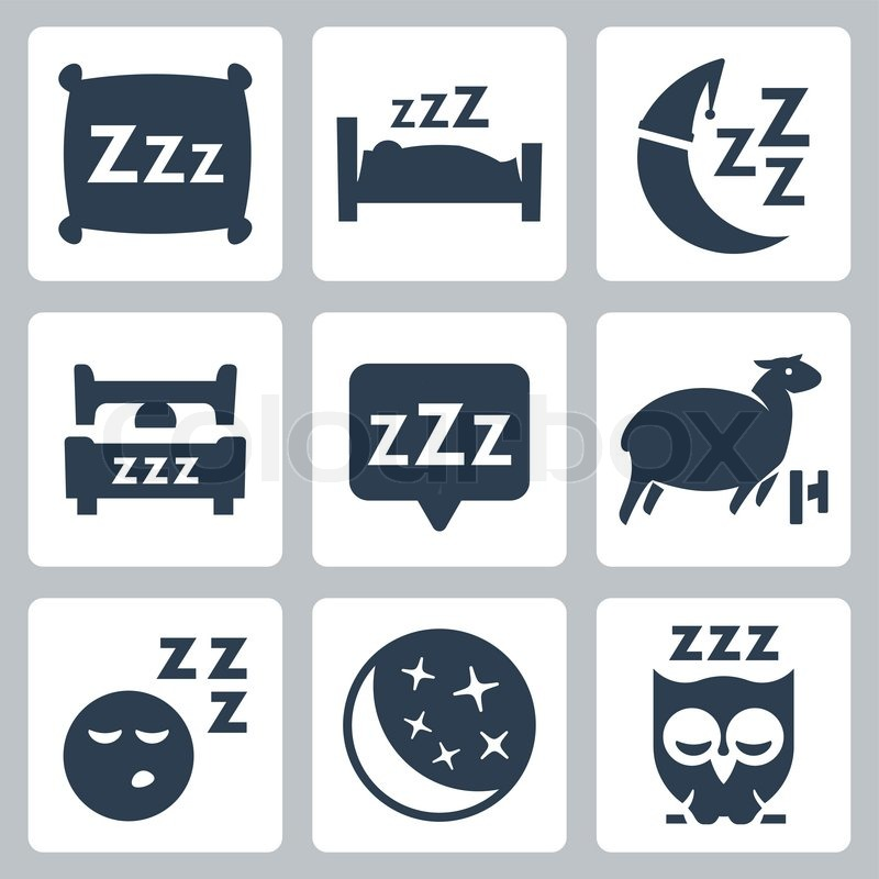 Vector Isolated Sleep Concept Icons Set Pillow Bed Moon