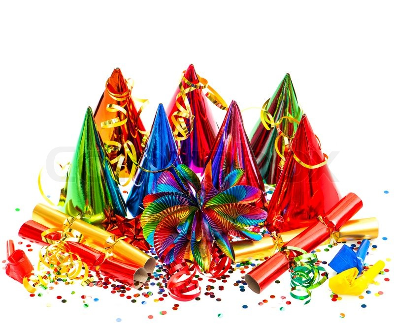 colorful party carnival birthday new years decoration on white background stock photo