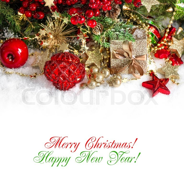 festive christmas decorations in red and gold stock photo colourbox - Merry Christmas Decorations