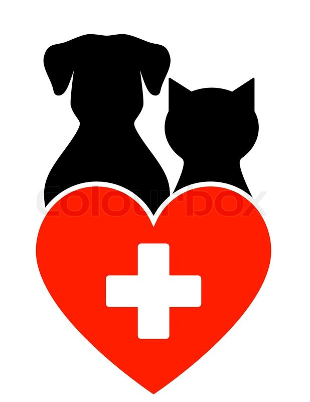 veterinary sign with dog cat and heart with cross stock