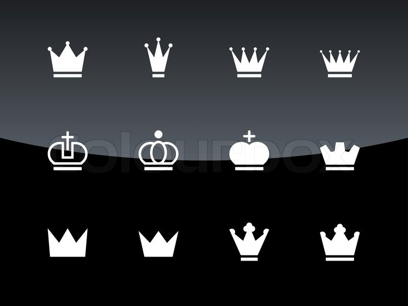 crown icons on black background stock vector colourbox