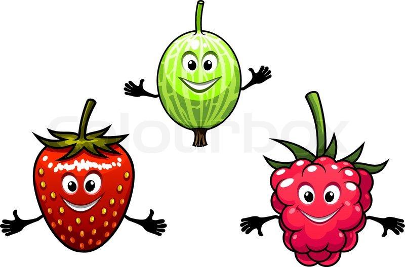 Stachelbeere, Himbeere und Erdbeere Beeren im Cartoon-Stil | Vektorgrafik | Colourbox