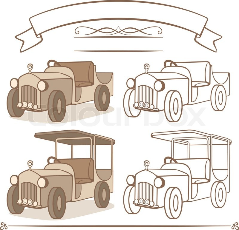 Old Vintage Car Cartoon Illustration Stock Vector