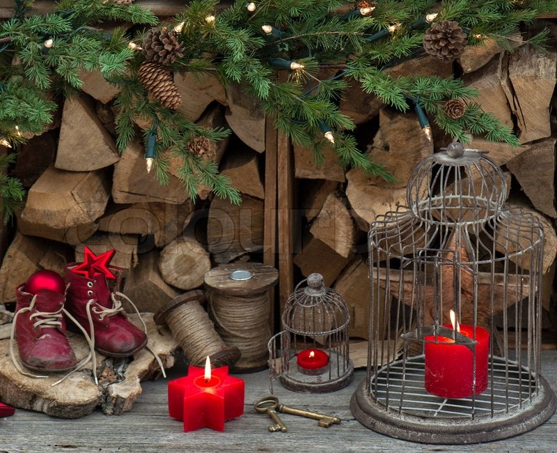 vintage christmas decorations with red candles, antique toys