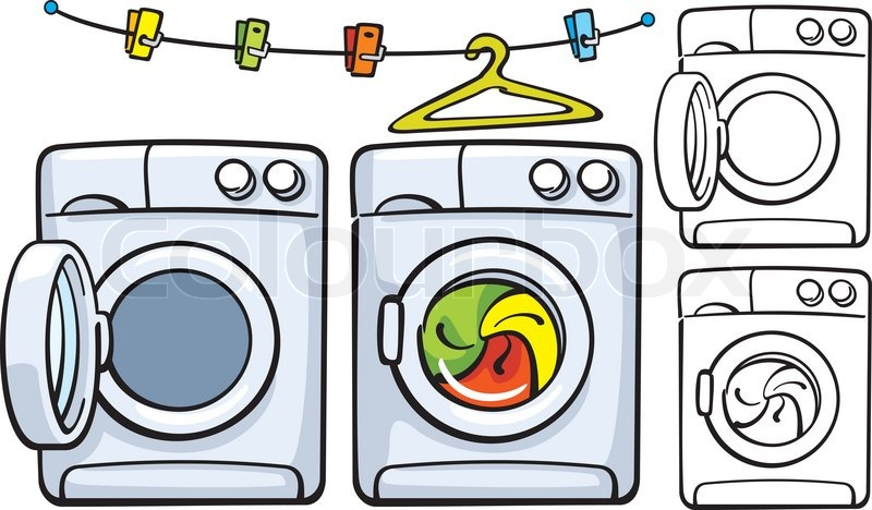 Cartoon Washer And Dryer ~ Clothesline with clothespins and washer machine stock