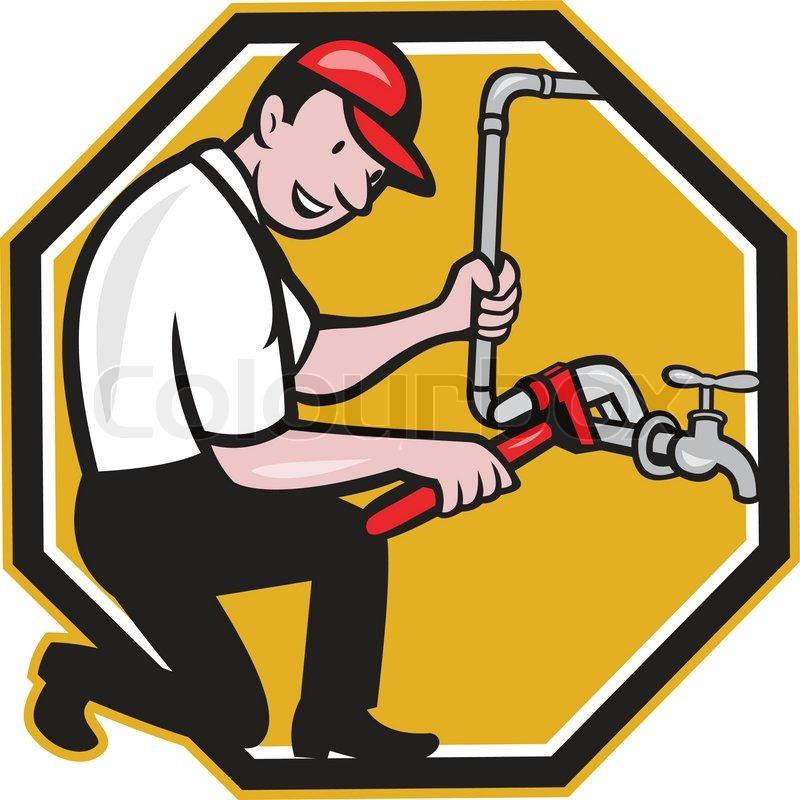plumber repair faucet tap cartoon stock vector colourbox