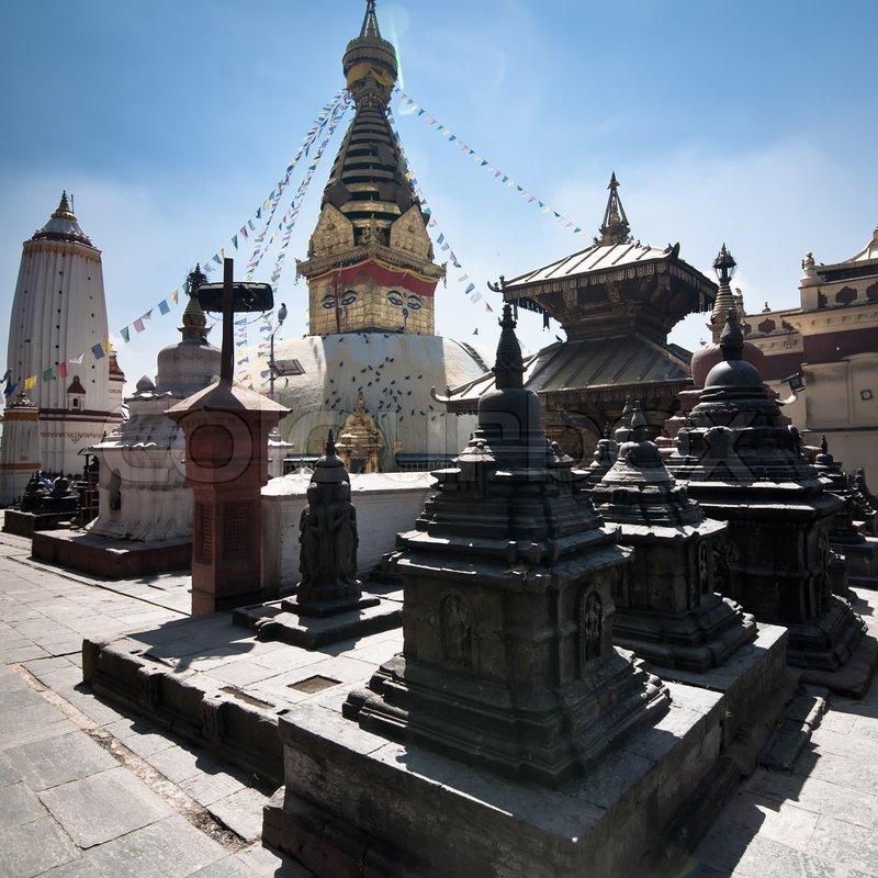 Buddhist Shrine Swayambhunath Stupa Monkey Temple Nepal, Kathmandu