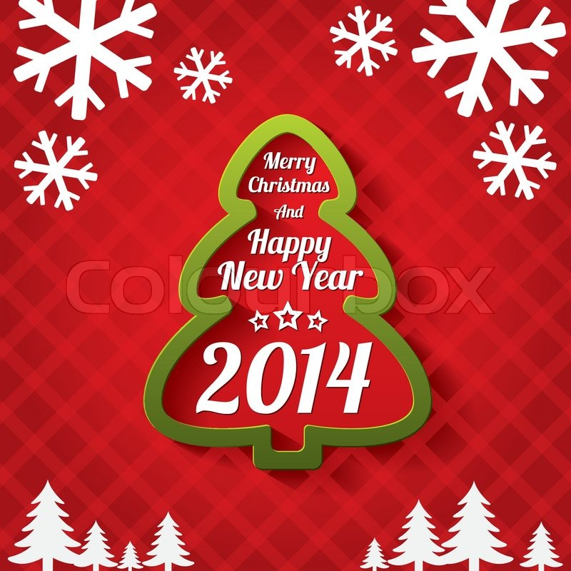 Merry christmas tree greeting card 2014 stock vector colourbox m4hsunfo