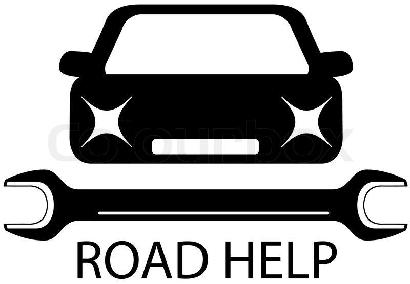 road help sign with black car and tools for repair stock vector rh colourbox com Auto Repair Business Logo Design auto repair shop vector