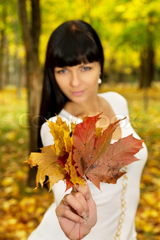 The girl in the autumn keeps the leaves on the nature, stock photo