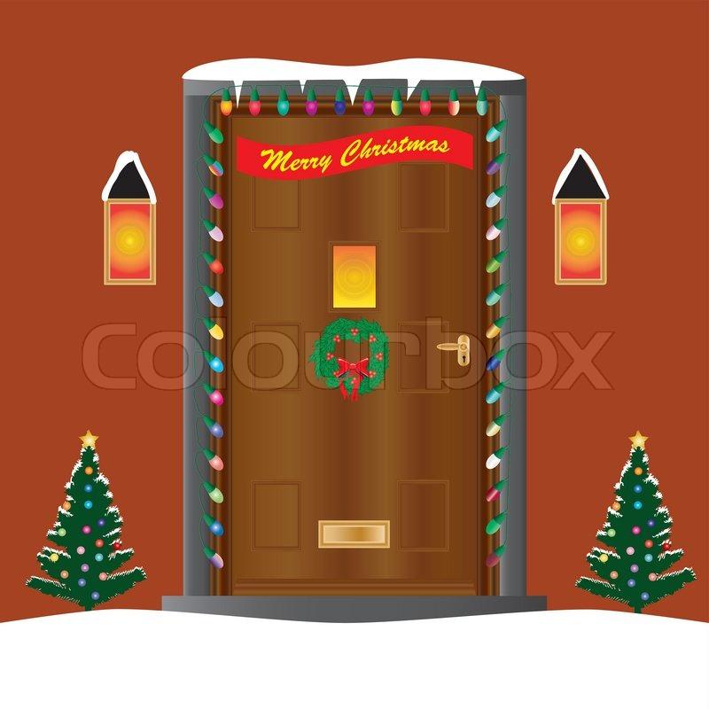 Christmas Door Stock Vector Colourbox