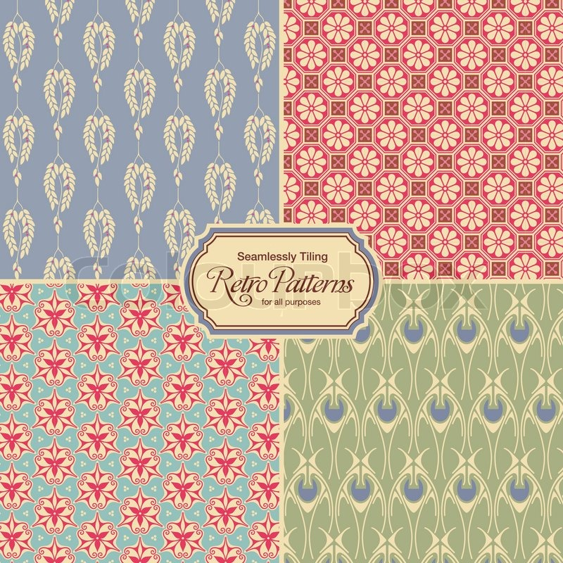pastel colored retro patterns set of four vintage designs seamlessly tiling stock vector. Black Bedroom Furniture Sets. Home Design Ideas