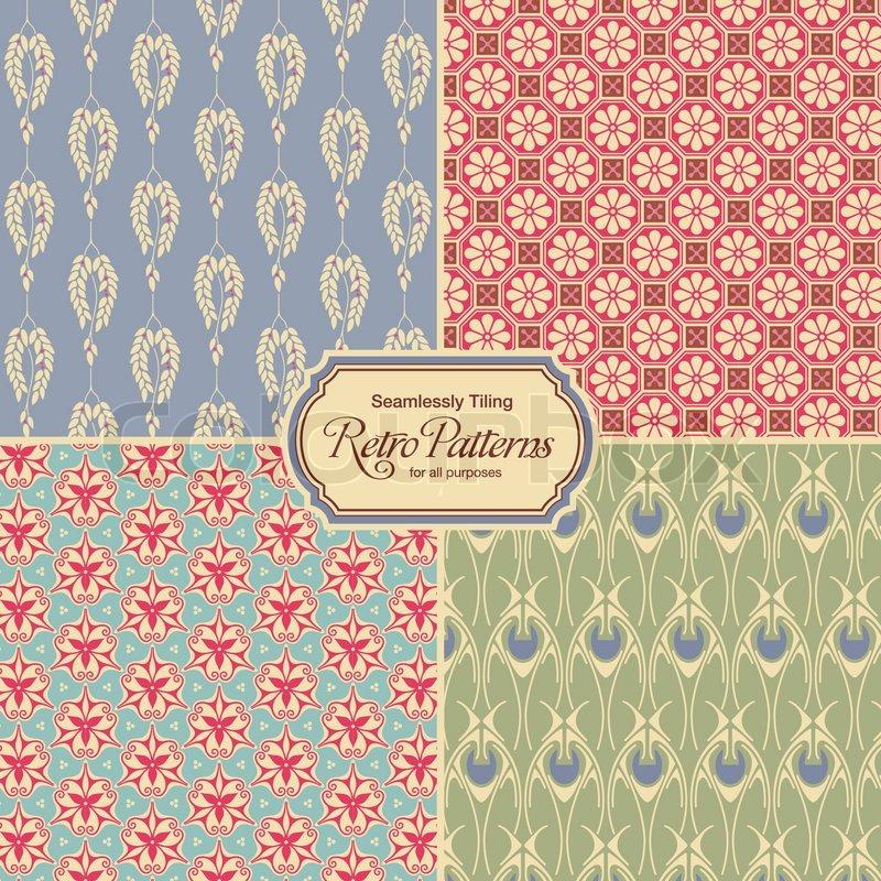 Pastellfarbene retro muster set von vier vintage designs for Retro fliesen