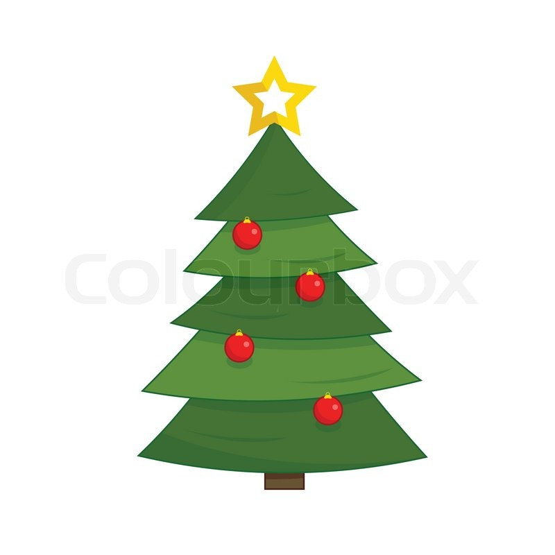 simple green christmas tree with red stock vector colourbox