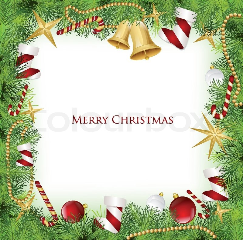 Christmas Frame With Holly Decoration. Vector illustration   Stock ...
