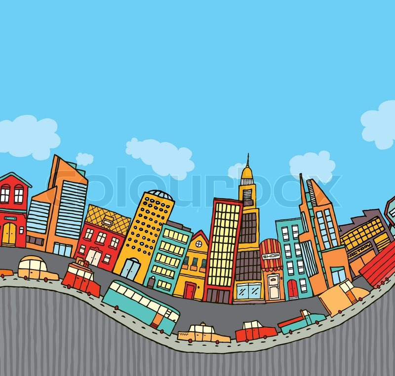 Stock vector of funny cartoon city with copyspace
