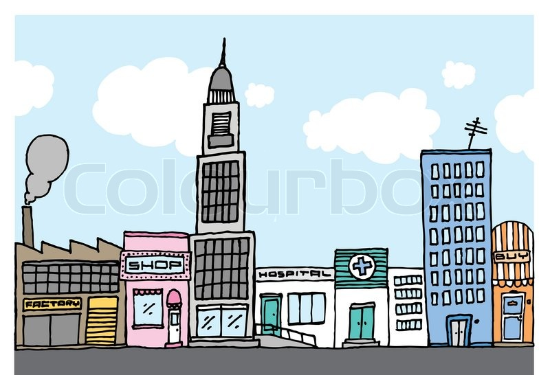 Vector cartoon city / Color Neighborhood | Stock Vector ...