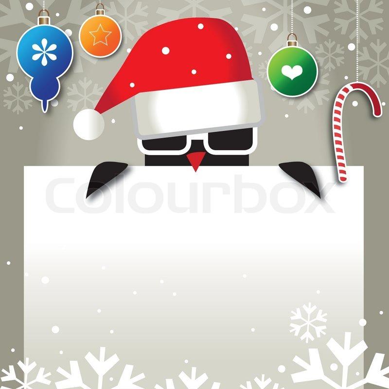 Weihnachten, weihnachtsmann, werbefläche, schild, pinguin, cool ...