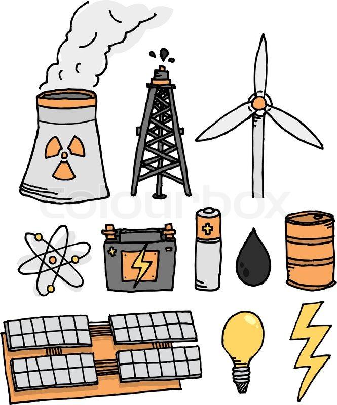 Energy Vector Icon Set Alternative Power Generation