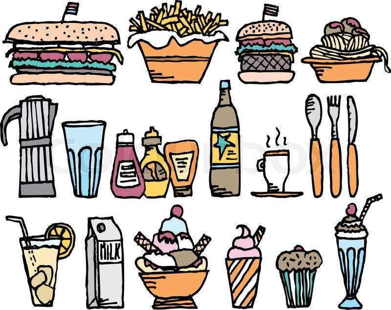 Food and drinks / Color restaurant stuff, vector