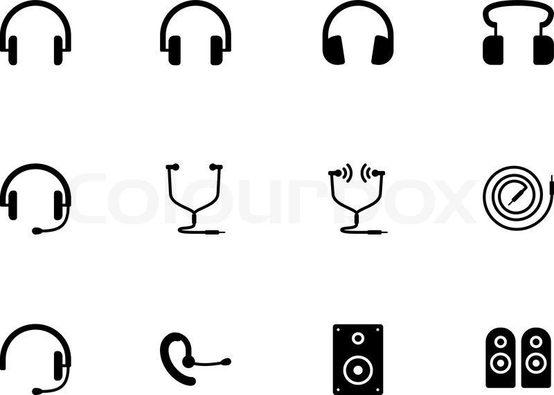 Kopfhörer und Lautsprecher-Symbole auf weißem Hintergrund ...
